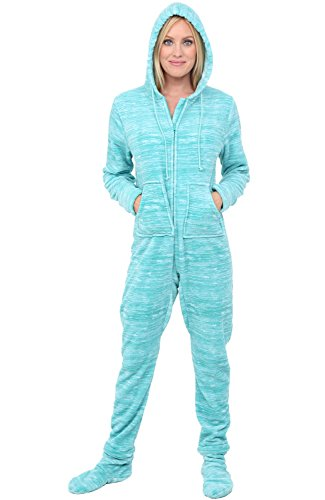 Alexander Del Rossa Women's Warm Fleece One Piece Footed Pajamas, Adult Onesie with Hood, Medium Textured Aqua (A0322TAQMD)