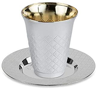 20 Pc 10 Pack 5 Ounce Kiddush Cups and 10 Plates (Trays or Saucers) Set - Silver Like Coated, Heavy Duty Plastic, Disposab...