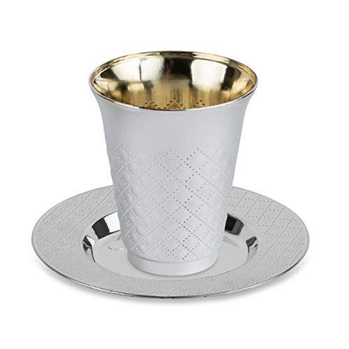 20 Pc 10 Pack 5 Ounce Kiddush Cups and 10 Plates (Trays or Saucers) Set - Silver Like Coated, Heavy Duty Plastic, Disposable Silverware for Wine, Tea at Wedding, Passover Seder