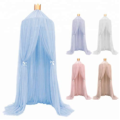 STKASE Bed Canopy for Girls, Yarn Mesh Pink Bed Canopy Hanging Curtain Net for Children Baby Game House Round Dome Nursery Decor Boys Girls Play Reading Tent, Height 240cm/94.5in,Blue