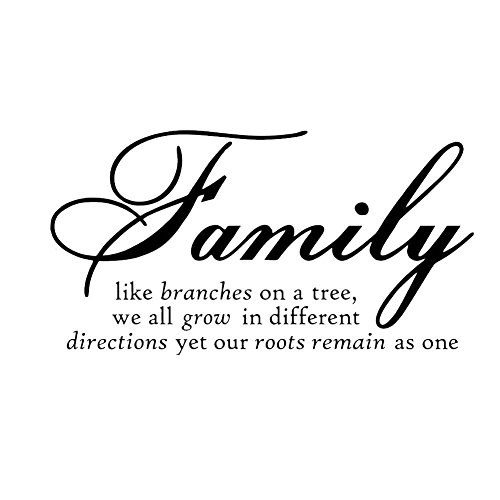 """Restly (TM) """"Familien wie ?ste an einem Baum, die wir alle in verschiedene Richtungen wachsen noch unsere Wurzeln bleibt als einer."""" Englisch Spr¨¹che Wand-Aufkleber-Dekor Wohnzimmer-Wand-Dekor-Aufkleber"""