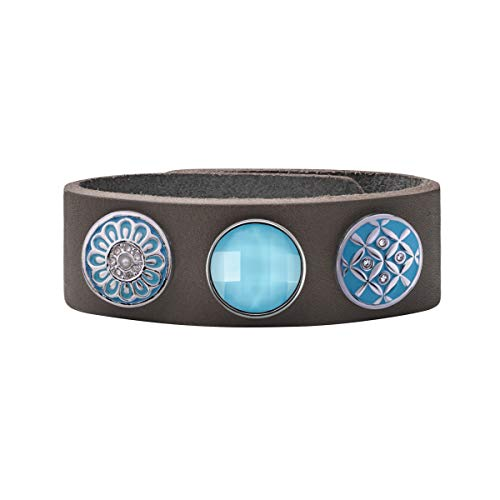 Quiges Damen 18mm Druckknopf Armband aus Leder Grau mit Blaue Click Buttons