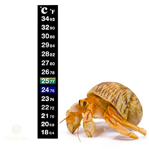 Stick-on Thermometer for Shrimps & Hermit Crabs - Provides Accurate Temperature - Assists in Breeding and Keeping Pets Healthy - Easy Set up - Just Peel and Stick to Install (Crab - Hermits)