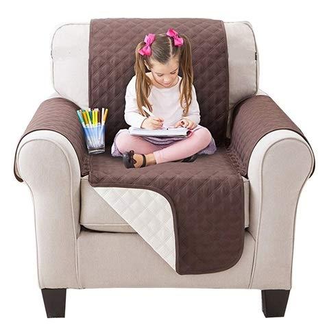 ML Sofabezug für 1-Sitzer, 170 cm, Vorderseite, wendbar, 2 Farben, rutschfest, gepolstert, Sofaüberwurf für Hunde