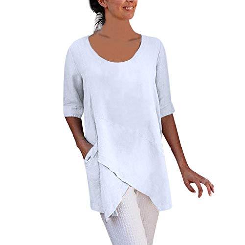 OverDose Damen Casual Übergröße Unregelmäßige Mode Lose Leinen Kurzarm Shirt Vintage Bluse Fest Hemd Lang Tank Tops T-Shirt Freizeit Oberteile Tees (EU-46/CN-2XL, F-Weiß)
