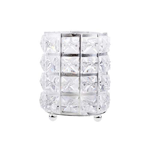 1 pc cristal métal rond maquillage brosse stockage titulaire cas baril organisateur (argent)