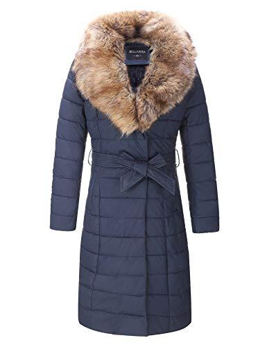 Bellivera Faux Leather Puffer Padding Long Jacket,Women Winter Bubble Coats with Detachable Faux Fur Collar 5528 Blue L