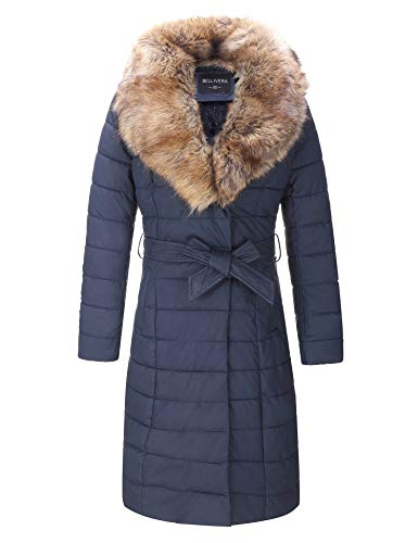 Bellivera Faux Leather Puffer Padding Long Jacket,Women Winter Bubble Coats with Detachable Faux Fur Collar Blue X-Large