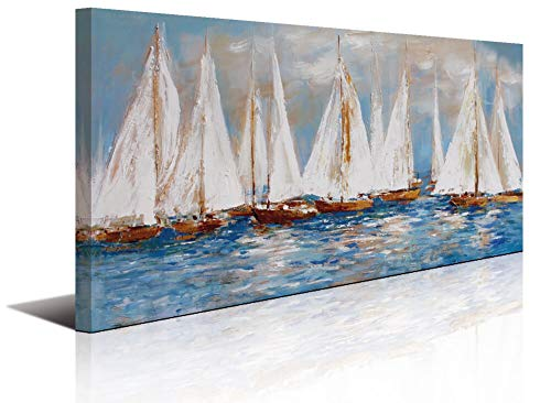 Large White Sailboats Canvas Painting Wall Art Decor for Living Room Office Abstract Seascape Picture Artwork Home Bedroom Wall Decoration