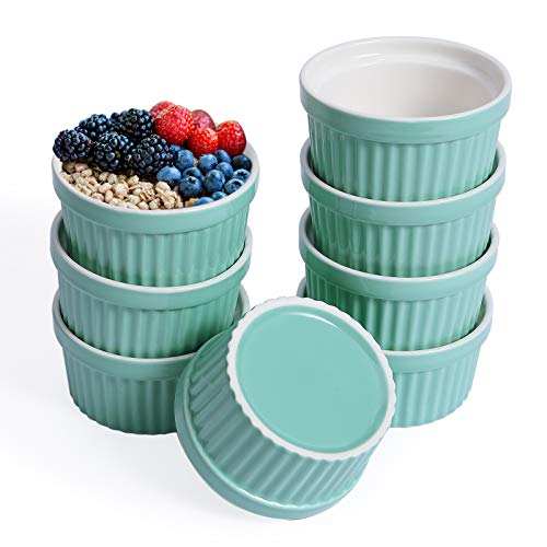 JOLLY CHEF 8 OZ Ramekins Bowls , Set of 8 Souffle Dishes Ramekins for Creme Brulee Dishes,Pudding, Custard Cups , Classic Porcelain Ramekins for Baking, Oven Safe, Blue.Ideal for Halloween, Thanksgiving, Christmas