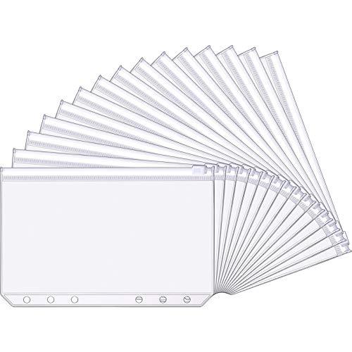 A6 Größe 6 Löcher Binder Taschen Kunststoff Binder Reißverschluss Ordner Wasserdicht 6 Löcher Reißverschluss Loose Blatt Taschen für Dokumente Notizbücher Karten (15 Packunen)