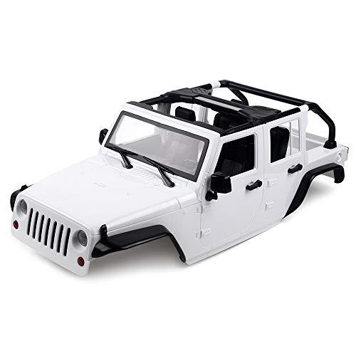 INJORA RC Auto Karosserie 313mm Radstand Kit Jeep Wrangler Car Body Shell für 1/10 RC Crawler Axial SCX10 90046 (Weiß)