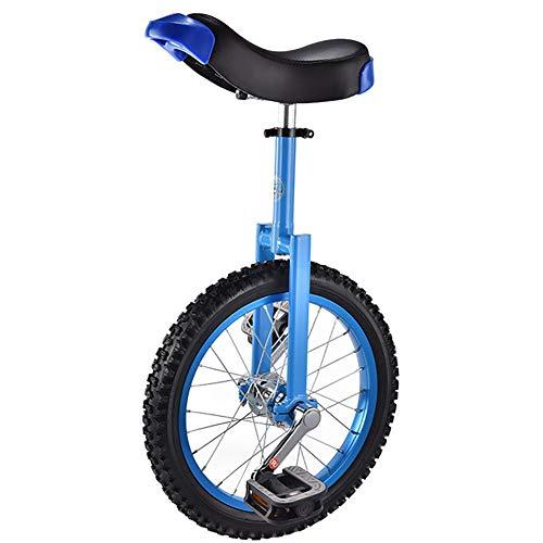 SSZY Einrad 16-Zoll-Rad Farbiges Einrad für Kinder Anfänger (12 Jahre Alt), mit Alufelgensitz, Höhenverstellbarem Balance-Radfahren, Geschenk An Jungen (Color : Blue)