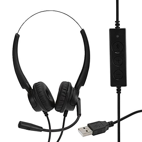 Vbestlife Auriculares USB para computadora con micrófono, Auriculares USB para computadora portátil, para Chat de Skype, Negocios, Centro de Llamadas, Conferencia telefónica, Dictado, cursos en línea
