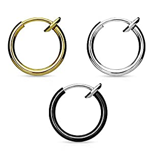 Via Mazzini Stainless Steel 13mm Gold-Silver-Black No Tarnish Clip-On Fake Piercing Ear/Nose/Lip/Tongue Unisex Ring Combo of 3 (LIP0006)