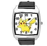 Reloj cuadrado de cuero negro para fans de la felpa amarilla