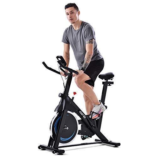 Bicicleta de interior MUNCASO con correa magnética para entrenamiento en casa, con volante de inercia de 8 kg, para gimnasia en casa, color negro y azul