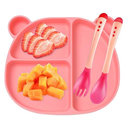 Assiette à Ventouse pour Bébé Silicone + Cuillère + Fouchette Forte aspiration Solide Epaisse Antidérapante Set de Table avec 3 compartiments(Rose)