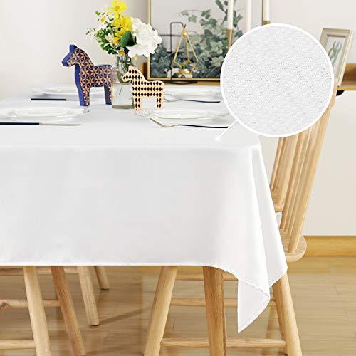 Deconovo Leinenoptik Tischdecke Wasserabweisend Tischwäsche Lotuseffekt 130x280 cm Weiß