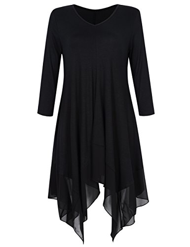 KOJOOIN Damen Plus Size Asymmetrische Lässige Longshirt Modal Oversize Tops Casual Tunika Weste(Verpackung MEHRWEG)