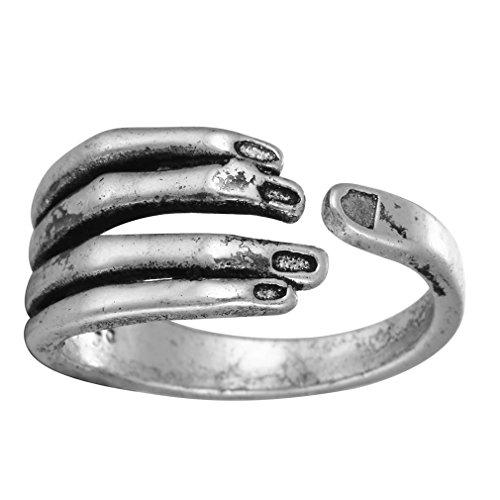 Anello a forma di mano in argento 925 anticato, regolabile, per donne, ragazze, uomini, matrimoni e compleanni