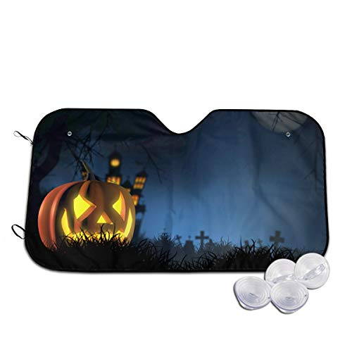 Parasol para Parabrisas Delantero de Coche de Halloween con diseño de Calabaza...