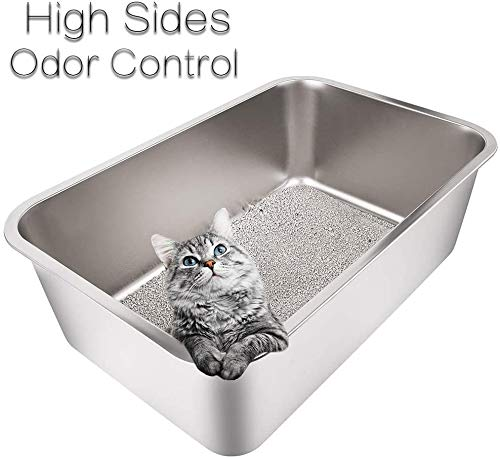 Yangbaga XXL Cat Litter Tray Suit for Two Cats ,High Side Rabbit Litter Tray,Stainless Steel Large Size Cat Litter Box No Odor, Non Stick, Never Bend, Easy to Clean