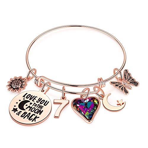 Ursteel 7th Birthday Bracelet Gifts for Girls, Seven 7 Year Old Girls Gifts Birthday Charm Bracelet Little Girls Kids Toddler Granddaughter Girls Daughter Birthday Gifts Age 7 Happy 7th Birthday