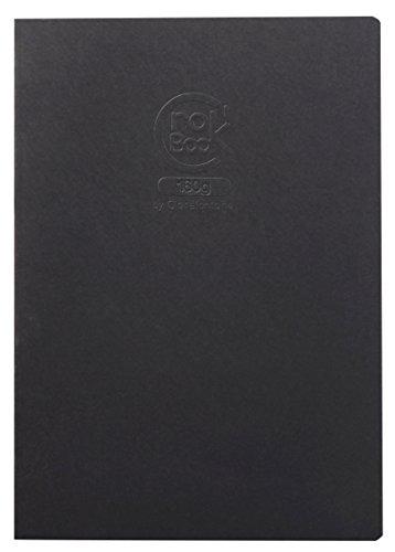 Clairefontaine 60352C Zeichenheft Crok´Book (mit 160 g Sketch-Papier, ideal für Notizen und Skizzen, Hochformat DIN A3, 29,7 x 42 cm, 20 Blatt) schwarz