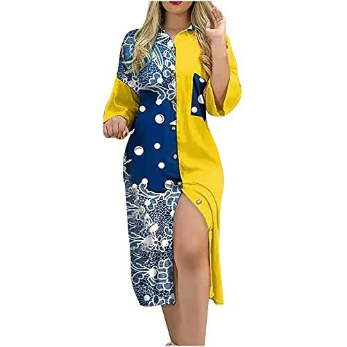 uzwwjim Sommerkleid Damen Langarm/Kurzarm Kleider Casual Lose V-Ausschnitt Strandkleider Farblock Leopardenmuster Boho Maxikleid Böhmen Langes Kleid(Gelb,M)