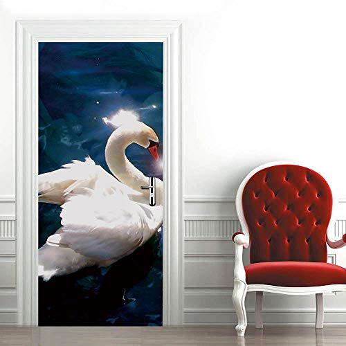 3D Door Mural Nature Art Sticker, Home Creative DIY, Cisne Blanco DIY Adhesivo Decorativo de Puerta Autoadhesivo Bricolaje Pegatinas Pared Decoración de Hogar Arte Moderno 77 x 200 cm