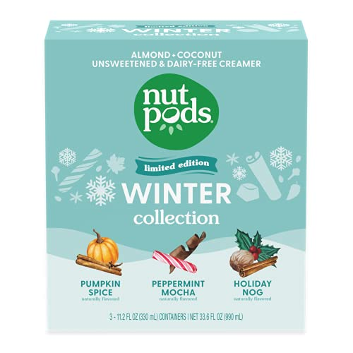 nutpods Winter Collection, (3-Pack), Pumpkin Spice, Peppermint Mocha and Holiday Nog, Unsweetened Dairy-Free Creamer, Made from Almonds and Coconuts, Whole30, Gluten Free, Non-GMO, Vegan, Kosher