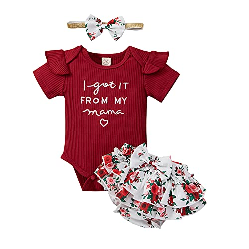 Geagodelia Conjunto de ropa para bebé y niña, body de manga corta, pelele, pantalones cortos, cinta para la cabeza, conjunto de ropa de verano para bebé borgoña 18-24 Meses