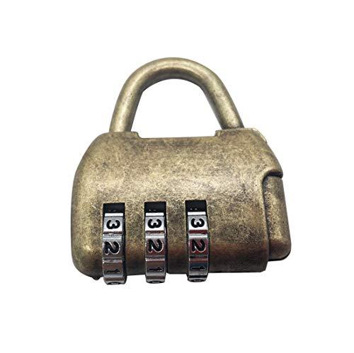 Candado de combinación de dígitos con cerradura de bronce antiguo para gimnasio, escuela, armario de empleados, cerca, cerrojo y almacenamiento al aire libre (candado de 3 dígitos)