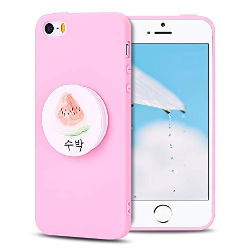SpiritSun Funda para iPhone 5 / 5S Silicona Carcasa TPU Case Ultra Ligero Slim Suave Protector Caso Bumper Tapa Flexible Cubierta Trasero Cover de 3D Retráctil Soporte Stand - Sandia Rosa