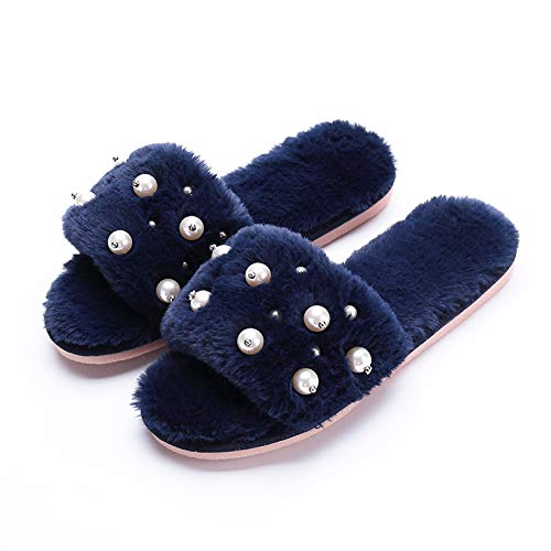 Women's Fuzzy Fluffy Furry Fur Slippers Flip Flop Open Toe Cozy House Memory Foam Sandals Slides Soft Flat Comfy Anti-Slip Spa Indoor Outdoor Slip on (03/Green, 35-36)