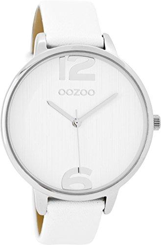 Oozoo Damenuhr mit Lederband 42 MM Weiss/Weiss C9530