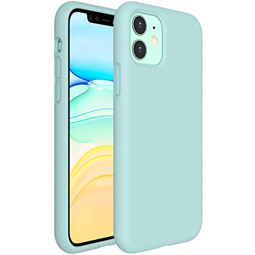 Miracase Liquid Silicone Case Compatible with iPhone 11 6.1 inch(2019), Gel Rubber Full Body Protection Shockproof Cover Case Drop Protection Case (Mint Green)