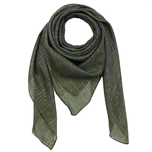 Freak Scene Pañuelo de algodón - Estampado de India 1 - verde oliva Lúrex multicolor - Pañuelo cuadrado para el cuello
