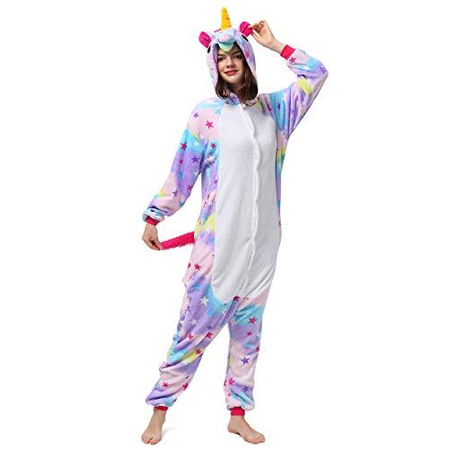Katara 1744 Animal Onesie (10+ designs) Unisex Pyjama Volwassenen Winter Kigurumi, Paars Wit Eenhoorn, Lichaamshoogte 145-155cm