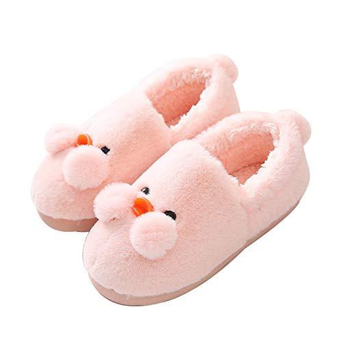 Y-PLAND Zapatillas de algodón de Pato de Dibujos Animados para Mujer, Bolso con Lindas Zapatillas de algodón Familiares en casa, Zapatos cálidos de algodón de confinamiento-Rosa Claro_US7-8
