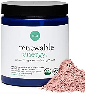 Ora Organic Renewable Energy Organic Pre-Workout Powder, Pomegranate & Berry, 200g