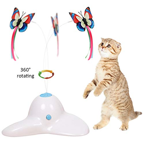 Zenes Cat Toys - Funny Exercise Electric Flutter Rotating Kitten Toys, Cat Teaser with Butterfly Replacement