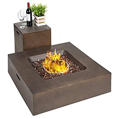 Best Choice Products 35x35-inch 40,000 BTU Square Propane Fire Pit Table for Backyard, Poolside w/Gas Tank Storage Side Table, Weather-Resistant Pit Cover, Glass Rocks - Distressed Brown