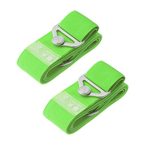 Luggage Straps Suitcase Bungee Belts Travel Accessories Bag Straps (2-Pack Green)