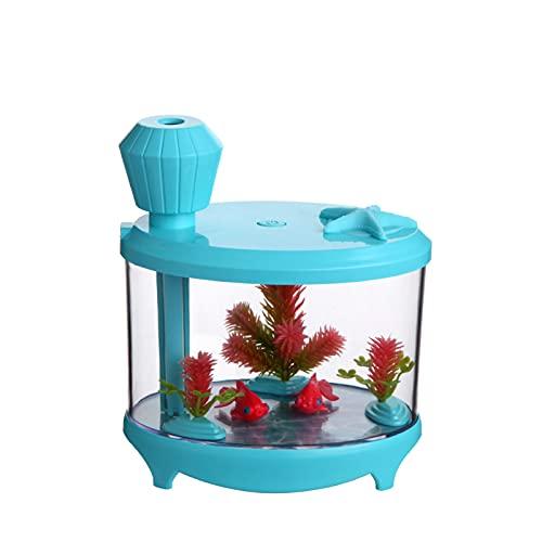 JOK Creatividad Eternal Flower Fish Tank Humidificador, Mini Mini Luz De Noche USB, Humidificador De Aroma Humidificador, Blue