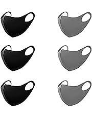Tinawells 洗えるマスク 6枚セット 立体型 ファッションマスク 夏用 洗える 在庫あり 吸汗速乾 繰り返し使える 個包装 ホコリ 花粉 紫外線対策 男女兼用 (ブラック&グレー)