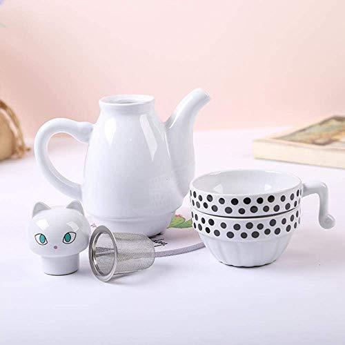 KDMB Théière en céramique Ensemble de Tasse à thé Mignon Noir Chats Blancs Filtre en Acier Inoxydable thé café Accessoires Beau Cadeau Verres, Blanc
