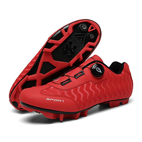 JINFAN Mens MTB Cycling Shoes SPD Mountain Bike Shoes Road Bike Shoes Breathable Outdoor Cycle Shoes With SPD Cleats,Red-7UK=(255mm)=41EU