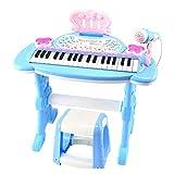 Xyanzi Kleinkindspielzeug Kinder-Beginner's Toy Piano, Kinderpianos & Keyboards Bunte Lichter Und Hocker Mit Echtem Arbeitsmikrofon für Kinder